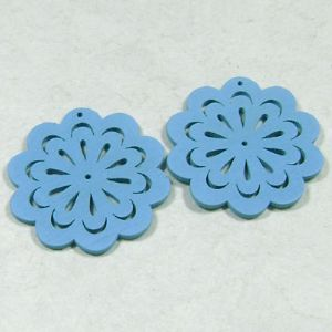 Wooden embellishments, blue, 4.5cm x 0.2cm, 2 Piece, (MZP026)